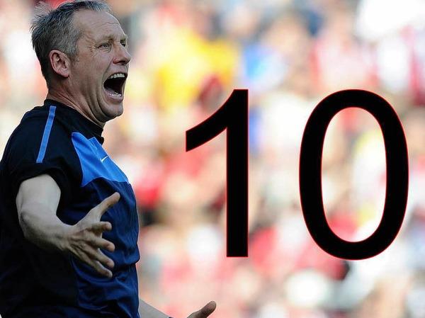 10:  Zehn Spiele in Folge blieb der SC Freiburg in der R�ckrunde ungeschlagen - und egalisierte damit den Vereinsrekord