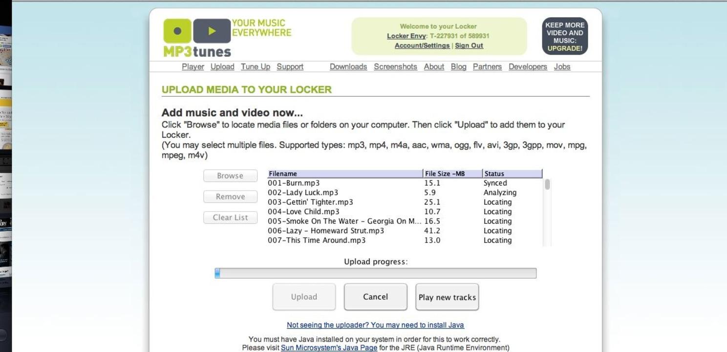 MP3tunes: Uploader - Der Uploader lässt sich zwar gar nicht übel bedienen...  | Foto: IDG