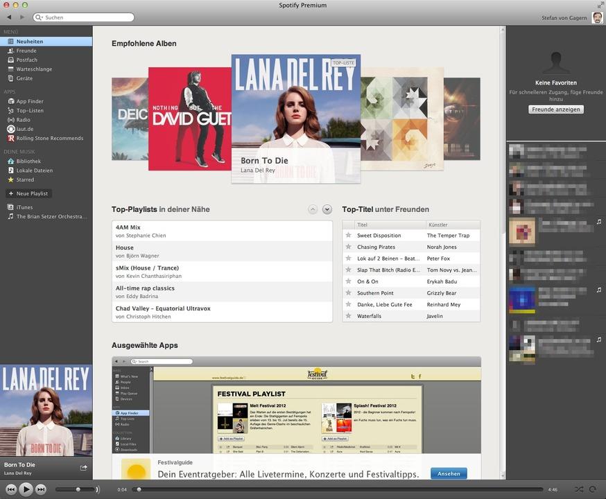 Spotify: Player - Der Spotify-Player w...indestens auf iTunes-Niveau zu bieten.  | Foto: IDG