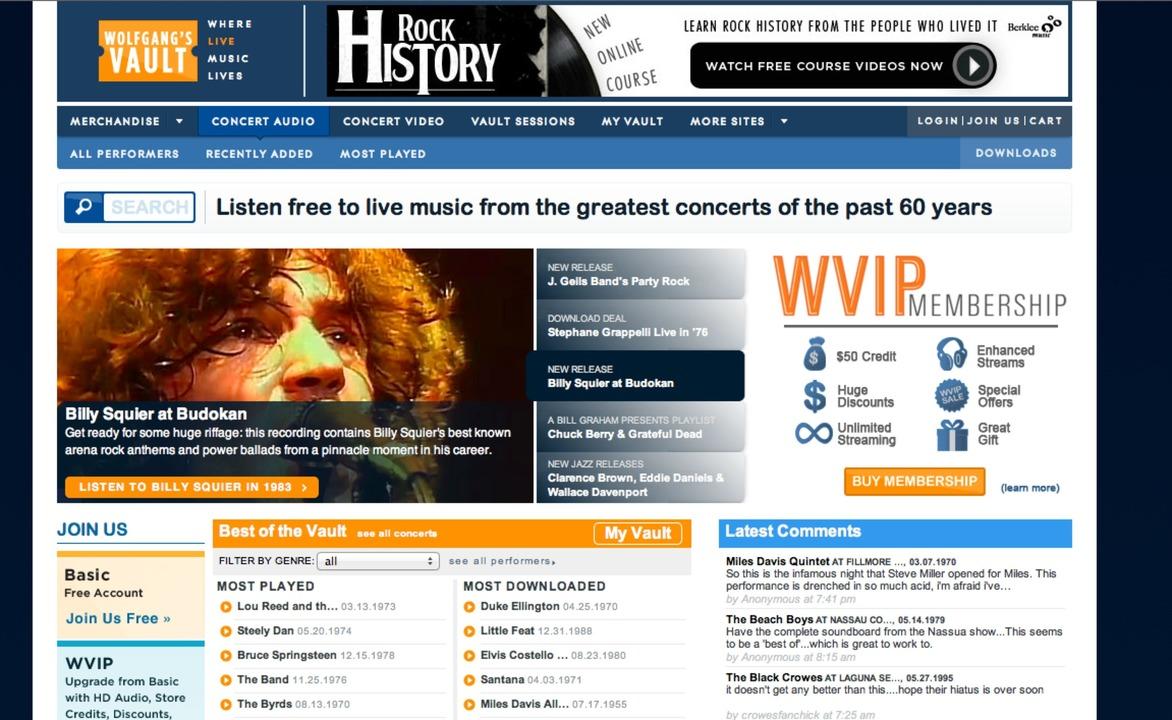 Wolfgang's Vault: Startseite - Wolfgan... Fundgrube für Fans von Livekonzerten.  | Foto: IDG
