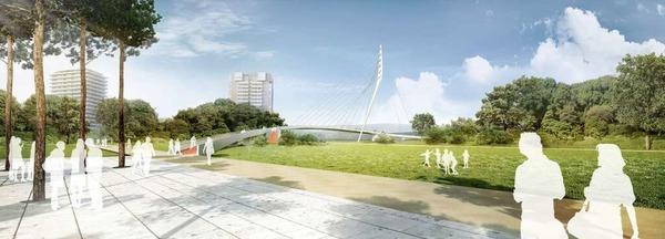 Der Sieger des Br�cken-Wettbewerbs: die Ingenieure EiSat GmbH und Henchion Reuter Architekten aus Berlin.