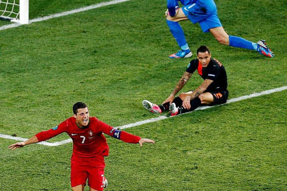 """Mit einer Weltklasse-Show hat Cristiano Ronaldo die """"fliegenden Holländer"""" erstmals seit 32 Jahren bereits nach der EM-Vorrunde auf die Heimreise geschickt. (Foto: dapd)"""