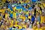 Auch nach zwei Niederlagen unterstützen rund 10 000 schwedische Fans unter den 63 010 Zuschauern ihre engagierte Mannschaft.