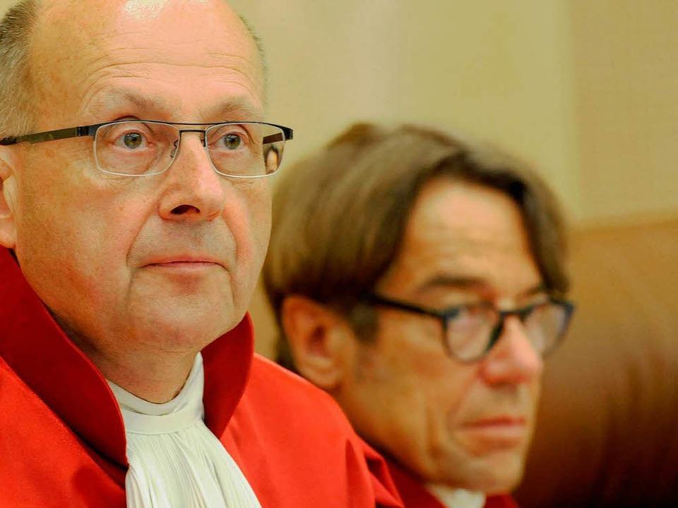 Ferdinand Kirchhof (links) und Reinhar... über das Asylbewerberleistungsgesetz.  | Foto: dapd