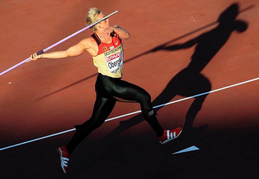 Silber holte Christina Obergföll bei der Leichtathletik-EM in Helsinki.    Foto: dpa