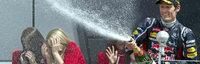 Webber spr�ht beim Gro�en Preis von Gro�britannien vor Freude