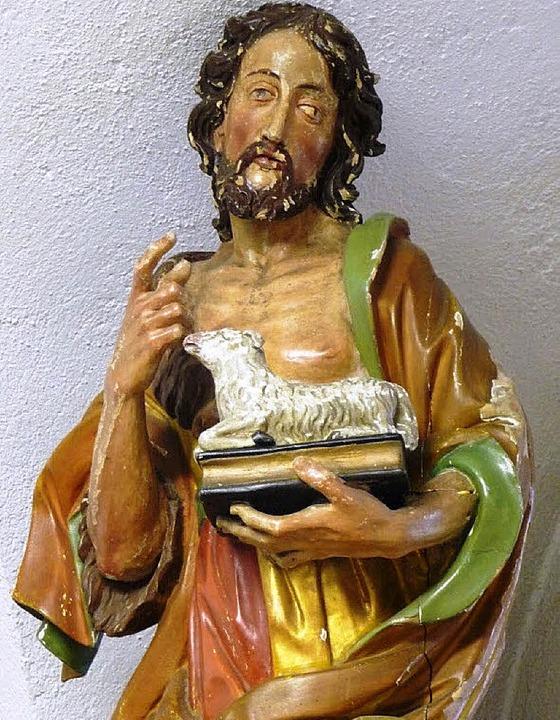 Diese  Johannes-Figur von Barockbildha...t Spendengeldern  restauriert werden.   | Foto: Manfred-G.  Haderer