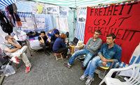 Seit Monaten protestieren Asylbewerber in W�rzburg