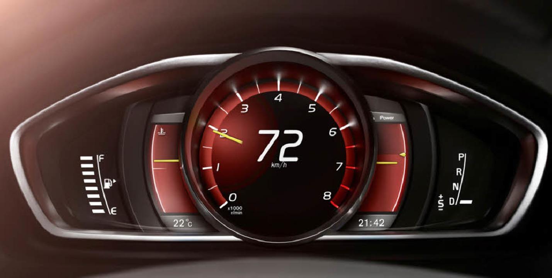 Performance-Mode im Volvo V40: hier gl...ahlmesser dann die Verbrauchsanzeige.
