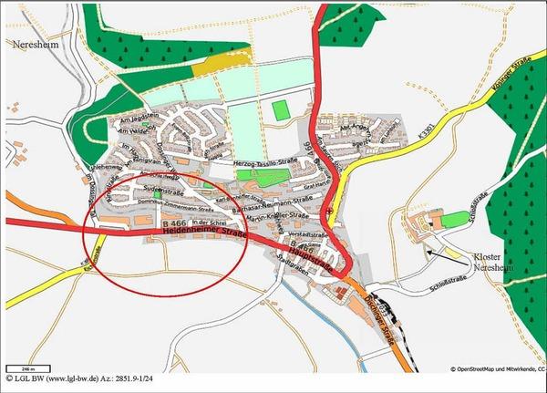 Die Polizei vermutet, dass der A-Klasse-Mercedes, mit dem Maria Bögerl entführt wurde,  kurzzeitig in diesem Gebiet von Neresheim geparkt war.