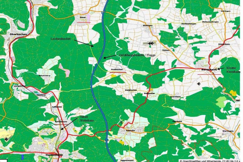 Eine Karte mit den Orten, die bei der Entführung eine wichtige Rolle gespielt haben. Zeugen könnten hier den A-Klasse-Mercedes gesehen haben, der für die Entführung benutzt worden war. (Foto: Polizei)
