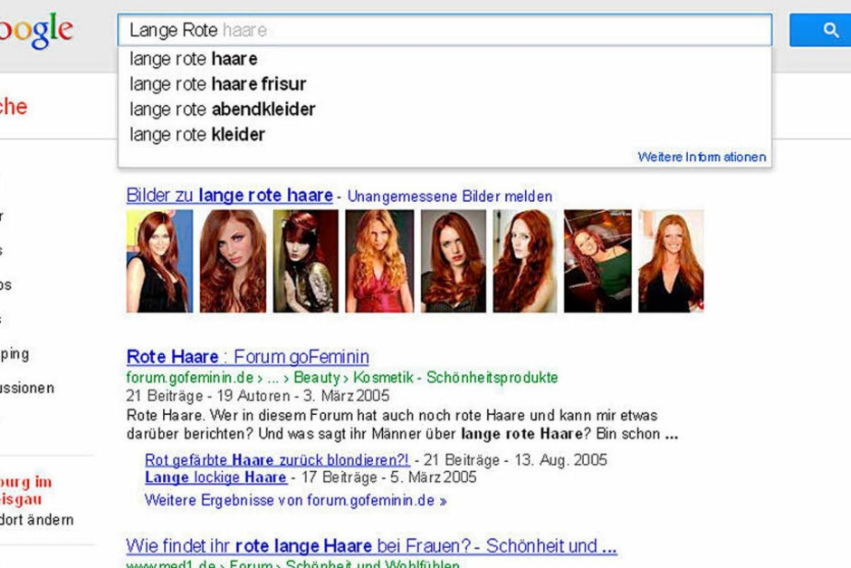Die Lange Rote ist Google reichlich Wurst. Statt Freiburger Bratwurst findet die Suchmaschine nur Haare. (Foto: Screenshot BZ)