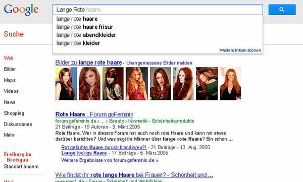 Die Lange Rote ist Google reichlich Wurst. Statt Freiburger Bratwurst findet die Suchmaschine nur Haare.