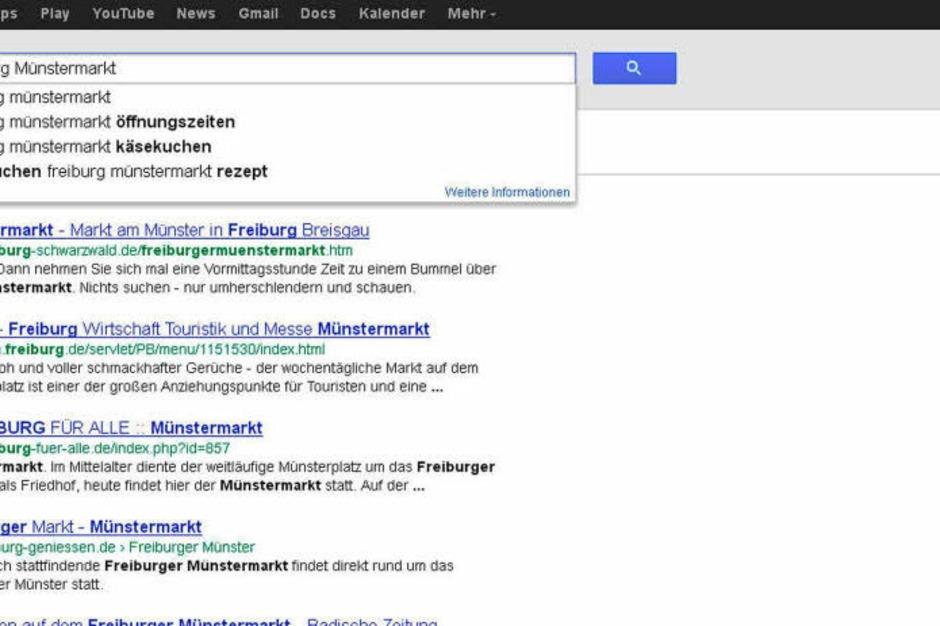 Liebe Beschicker des Münstermarkts – nur die Ruhe: Dass alle nach Stefans Käsekuchenstand suchen, kann auch bedeuten, dass  die Google-Nutzer wissen, wo sie euch finden. (Foto: Screenshot BZ)
