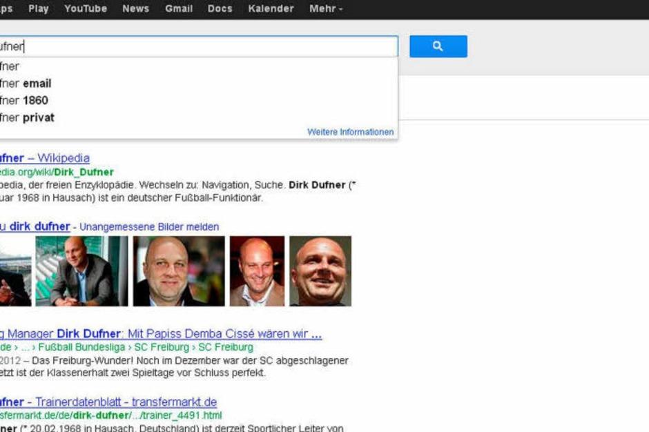 Dirk Dufner ist Sportdirektor  beim SC Freiburg. Ist bei der Google-Suche kein Thema – warum? Weil die User sich offenbar mehr für den Menschen als den Manager interessieren. (Foto: Screenshot BZ)