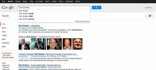 Dirk Dufner ist Sportdirektor  beim SC Freiburg. Ist bei der Google-Suche kein Thema - warum? Weil die User sich offenbar mehr für den Menschen als den Manager interessieren.