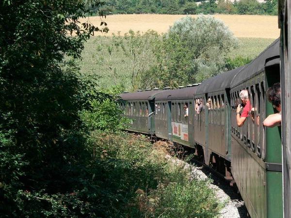 """Gestartet wurde der """"Eisenbahntag"""" mit einer Fahrt mit der Sauschwänzlebahn von Weizen nach Blumberg."""