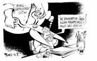 Karikaturist mit Schere im Kopf