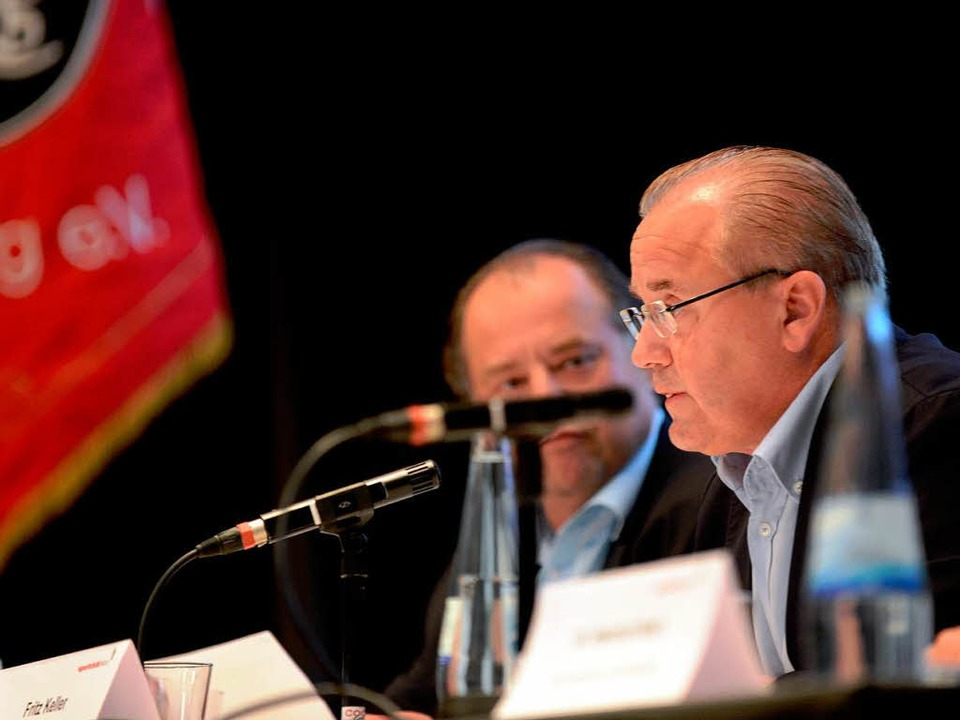 Fritz Keller bei der SC-Mitgliederversammlung im Paulussaal    Foto: dapd