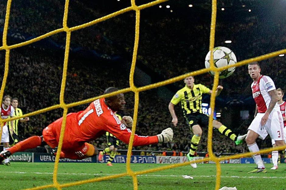 87. Minute: Robert Lewandowski erlöst Borussia Dortmund. Der deutsche Meister gewinnt 1:0 gegen Ajax Amsterdam. (Foto: dapd)