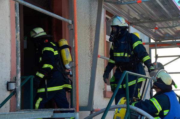 Feuerwehreinsatz im Lörracher Wohngebiet Teichmatten.