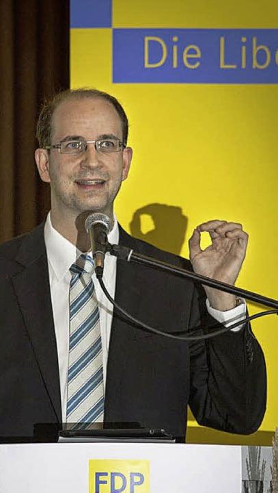 Sascha Fiek, der neue Chef der südbadi..., beim Bezirksparteitag in Trossingen   | Foto: BZ
