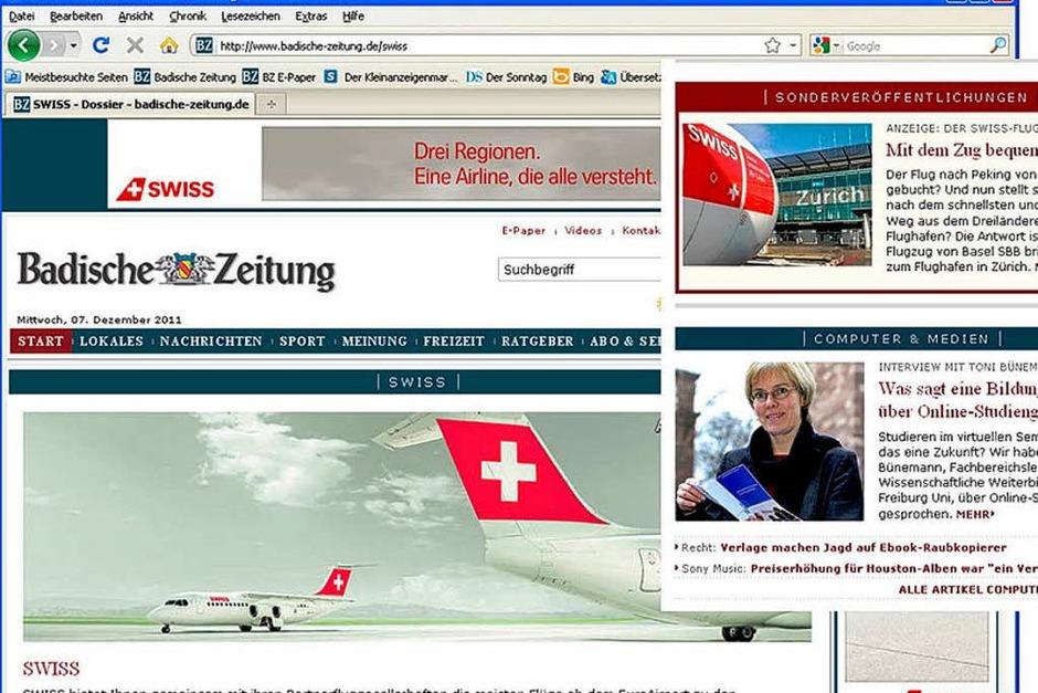 Kategorie Print und Online: Den 1. Platz belegte die  Fluglinie Swiss  International Airlines mit Print- und Online-Werbung  für Städtereisen.  Besonderes Highlight: BZ-Leser konnten  Reiseberichterstatter werden und hinter  die Kulissen am Airport und im Cockpit schauen. (Foto: asdf)