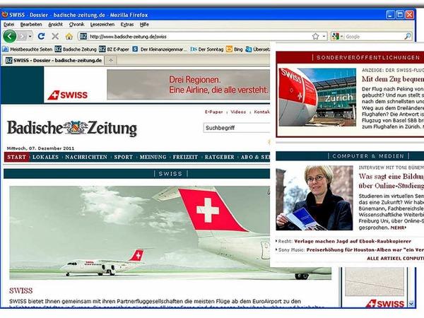 Kategorie Print und Online: Den 1. Platz belegte die  Fluglinie Swiss  International Airlines mit Print- und Online-Werbung  für Städtereisen.  Besonderes Highlight: BZ-Leser konnten  Reiseberichterstatter werden und hinter  die Kulissen am Airport und im Cockpit schauen.