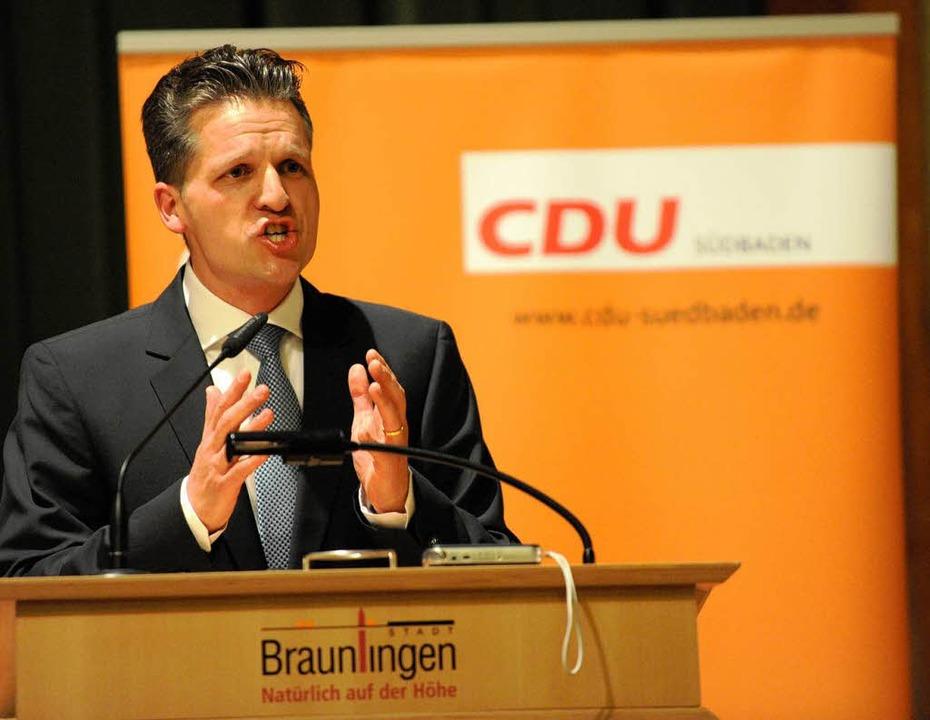 Der Donaueschinger Oberbürgermeister T...ür die CDU in den Bundestagswahlkampf.  | Foto: Patrick Seeger