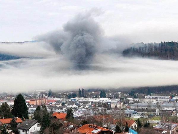Die Rauchwolke breitete sich über die halbe Innenstadt aus, hier ein Blick von Wiechs.