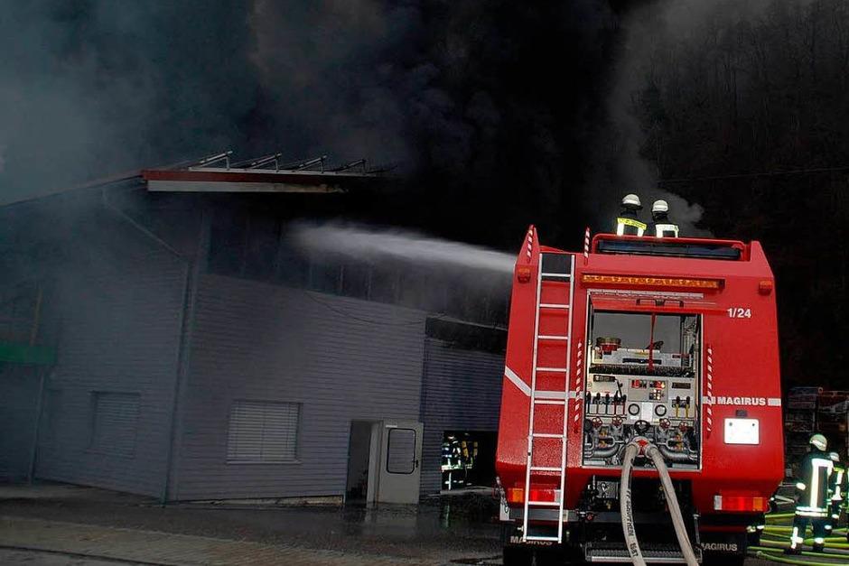 Rauch über dem Wiesental: Beim Großbrand in einer Zimmerei kamen zwar keine Menschen zu Schaden – doch der Schaden geht in die Millionen. (Foto: Angelika Schmidt)