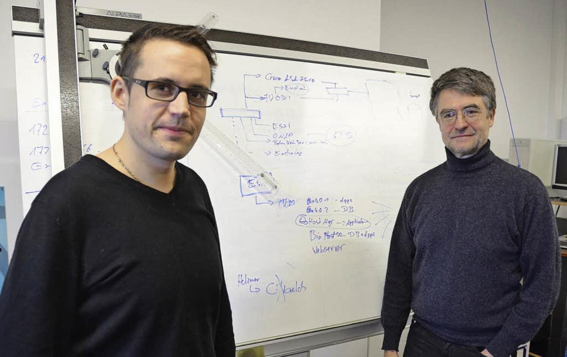 Alexander Misita (links) und Geschäfts...lrich Kipper in ihrer Ideenwerkstatt.   | Foto: Michael Gilg