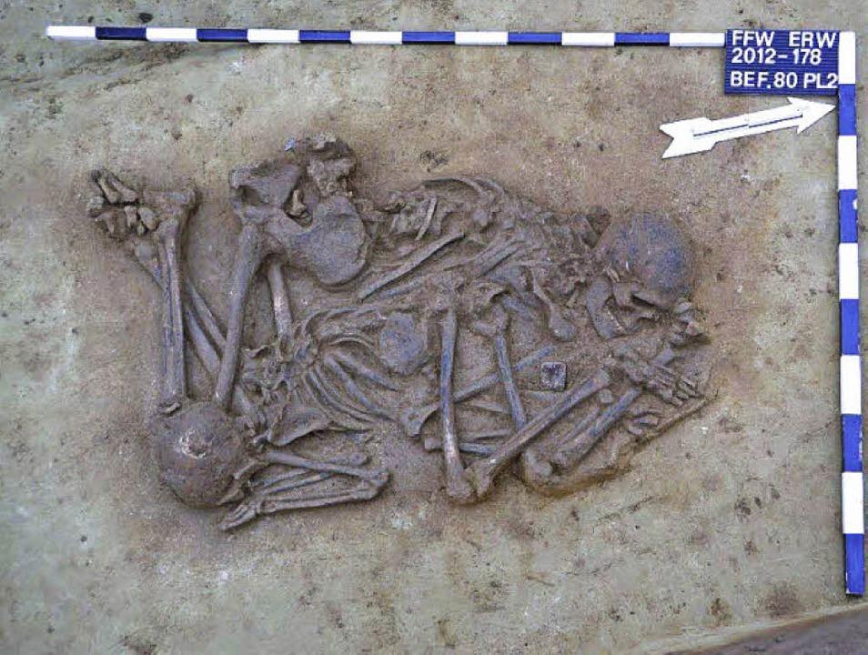 Sensationeller archäologischer Fund: d...zelgrab, vermutlich ein Bogenschütze.     Foto: Stadt Ettenheim