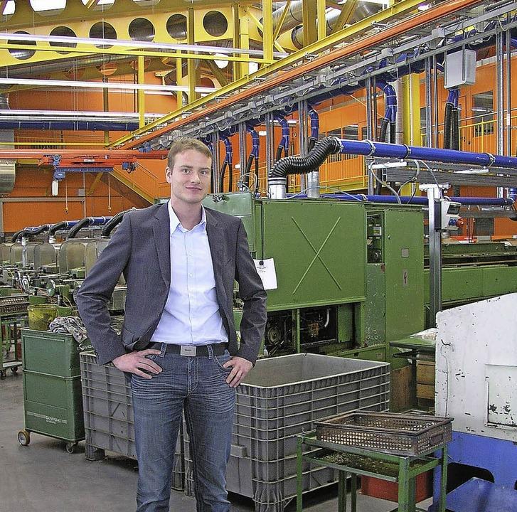 David Duttlinger, Nachfolger in der 12...tet sich in der Firma Weckermann ein.     Foto: Brichta