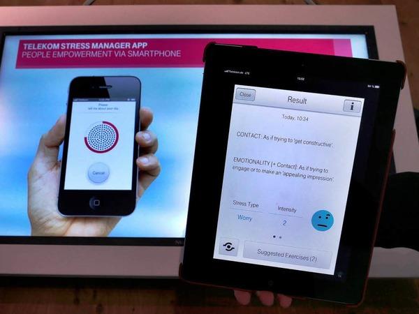 Eine App, die anhand einer Stimmprobe den eigenen Stressfaktor ermittelt?  Und die Telekom bietet gleich eine Lösung dazu: Entspannungsmusik und Lockerungsübungen.