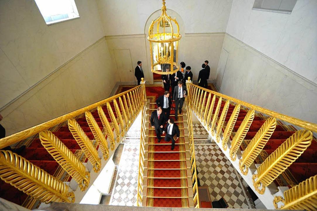 Auf der Treppe geht's für Hollan...ten – genau wie in den Umfragen.  | Foto: dpa