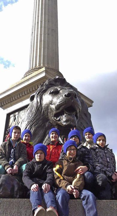 Beliebtes Fotomotiv: ein Löwe am Trafalgar Square  | Foto: privat