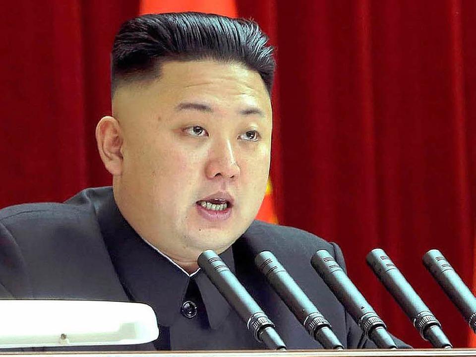 Mikrofone in Reih und Glied: Kim Jong-un bei einem Auftritt Ende März   | Foto: AFP