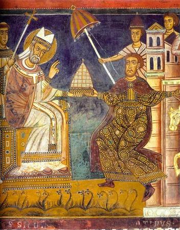 Konstantinische Schenkung: Kaiser Konstantin (re.) schenkt Papst Silvester die Herrschaft über Rom. Die Schenkung ist gefälscht. Trotzdem begründet die Kirche damit lange ihre Macht.