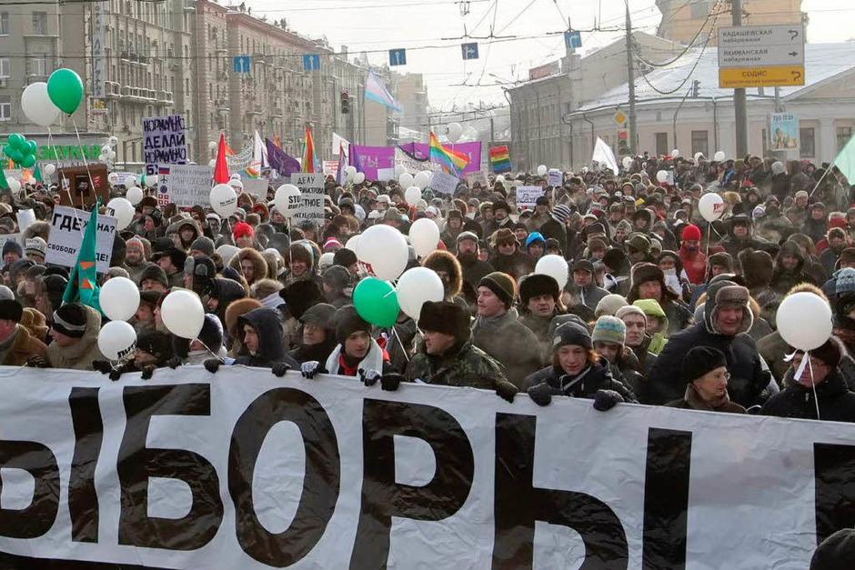 Wahlfälschung : Beispielsweise in Russland protestierten 2012 mehr als 100.000 Menschen gegen Fälschungen bei  der Duma-Wahl. (Foto: dpa)