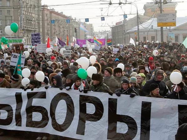 Wahlfälschung : Beispielsweise in Russland protestierten 2012 mehr als 100.000 Menschen gegen Fälschungen bei  der Duma-Wahl.