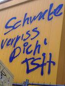 """Entsetzen über """"Kauft nicht bei Schwab'n""""-Graffitio"""