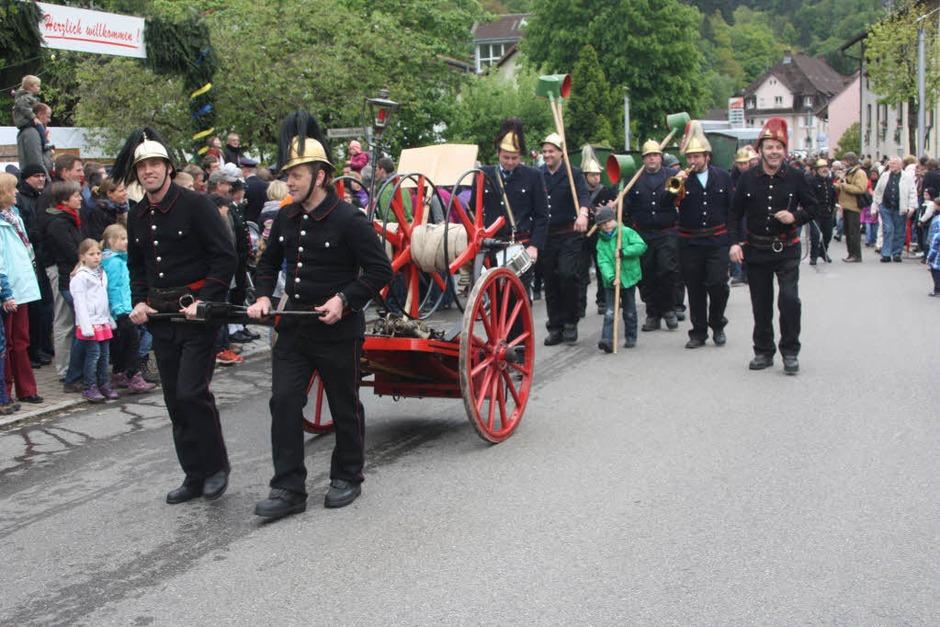 Mehr als 20 Blasmusikkapellen, Feuerwehrabteilungen und Trachtengruppen zogen beim Festumzug mit. (Foto: Heiner Fabry)