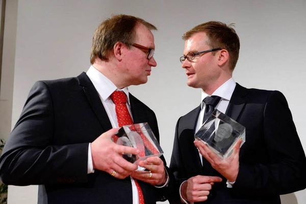 Der dritte Preis ging an  Wolfgang Messner von der Stuttgarter Zeitung (links) und Daniel Gräber, Der Sonntag,in der Redaktion Bad Säckingen.