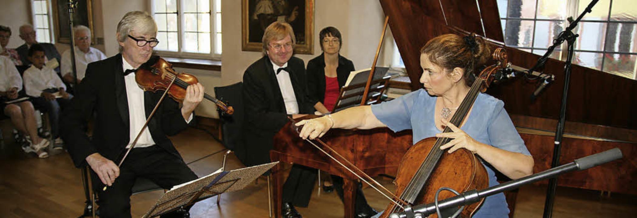 Glänzend: Ulrich Beetz (Violine), Gerr...rflügel) und Birgit Erichson (Cello).   | Foto: Decoux-Kohne