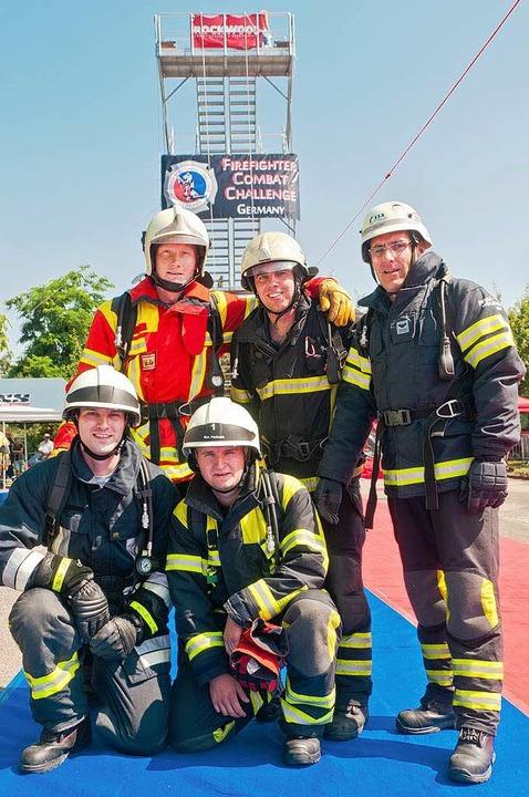 Das Team Südbaden mit Feuerwehrleuten ...tingen, Kandern, Freiburg und Müllheim    Foto: Alexander Anlicker