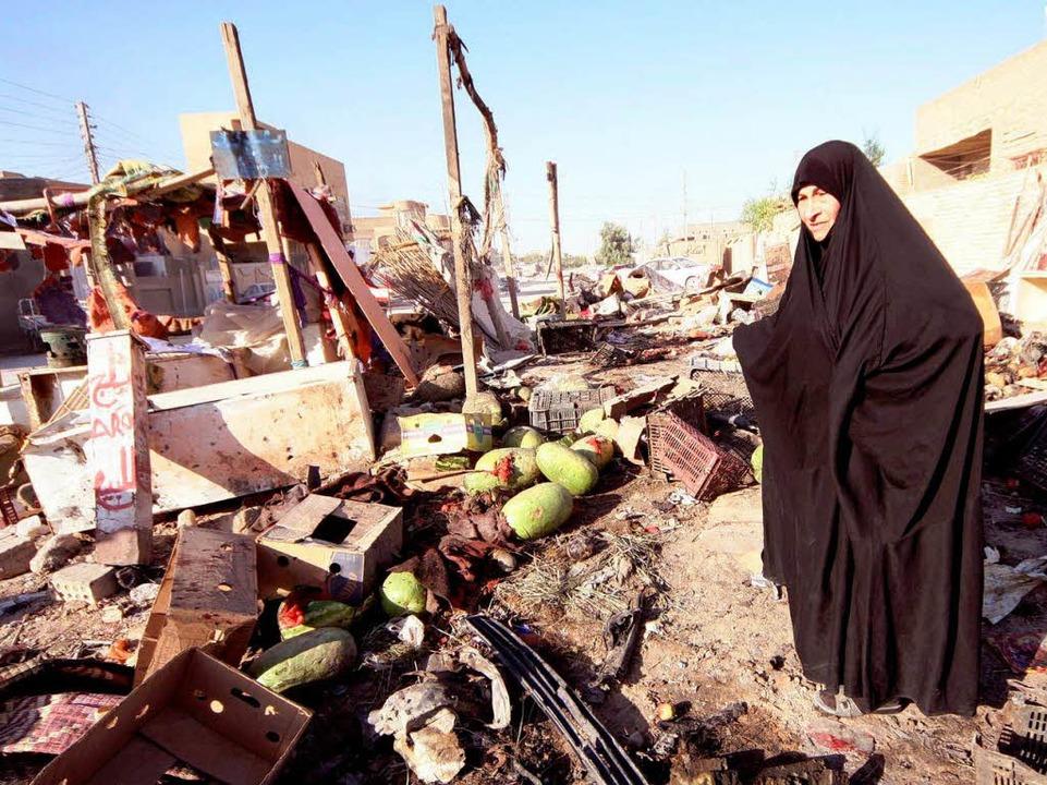 Eine Irakerin in Kerbala, wo am Wochenende Bomben explodierten    Foto: dpa