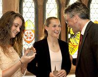 Empfang f�r die EM-Siegerinnen Laura Benkarth und Sara D�britz