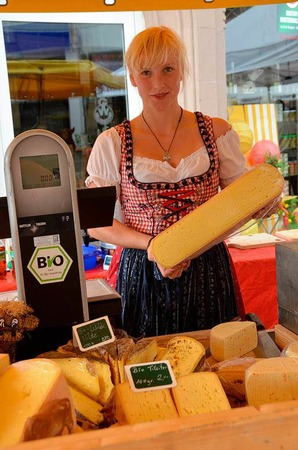 Leckeren Käse vom Bauernhof gab's auf dem Erzeugermarkt.