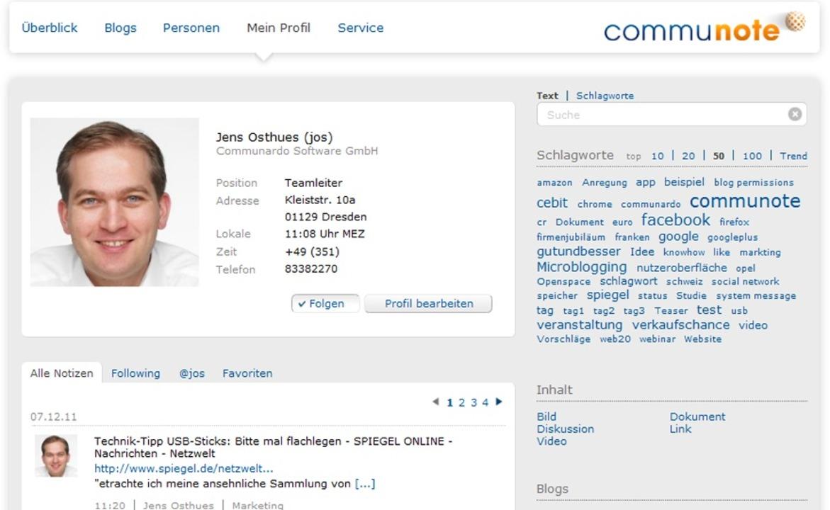 Communote - Communote des gleichnamige...sowie Youtube-Videos angezeigt werden.  | Foto: IDG